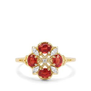 Songea Ruby & White Zircon 9K Gold Ring ATGW 1.41cts