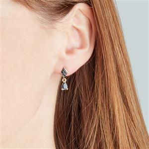 Australian Blue Sapphire Earrings with Sri Lankan Sapphire in 10K Gold 1.23cts