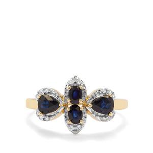 Australian Blue Sapphire & White Zircon 9K Gold Ring ATGW 1.13cts