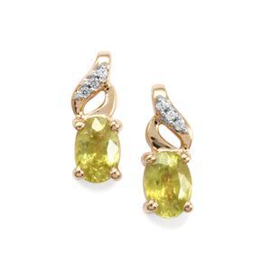 Ambilobe Sphene & White Zircon 10K Gold Earrings ATGW 1.23cts