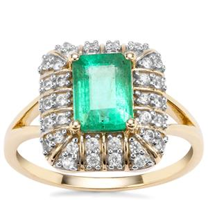 Zambian Emerald Ring with White Zircon in 9K Gold 2.02cts