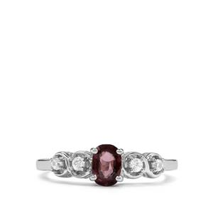 Burmese Purple Spinel & White Zircon Sterling Silver Ring MTGW 0.62cts