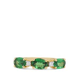 Tsavorite Garnet & White Zircon 9K Gold Ring ATGW 1.45cts