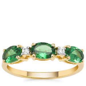 Tsavorite Garnet Ring with White Zircon in 9K Gold 1.45cts