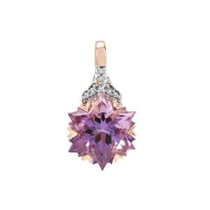 Wobito Snowflake Cut Ametista Amethyst Pendant with Diamond in 9K Rose Gold 4.06cts