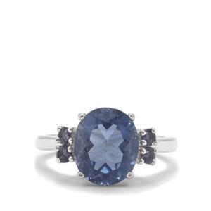 Colour Change Fluorite Ring with Iolite in Sterling Silver 4.84cts