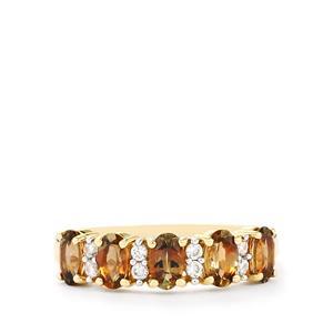 Gouveia Andalusite & White Zircon 9K Gold Ring ATGW 1.30cts