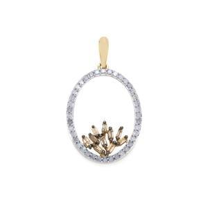 1/2ct Champagne & White Diamond 9K Gold Pendant