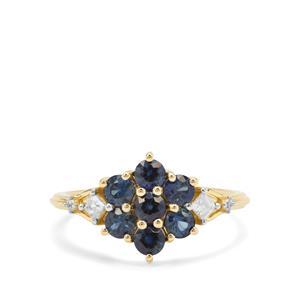 Australian Blue Sapphire & White Zircon 9K Gold Ring ATGW 1.21cts