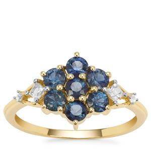 Australian Blue Sapphire Ring with White Zircon in 9K Gold 1.21cts