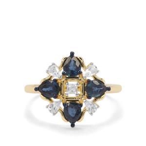 Natural Nigerian Blue Sapphire & White Zircon 9K Gold Ring ATGW 1.54cts