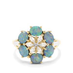 Crystal Opal on Ironstone & White Zircon 9K Gold Ring