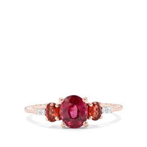 Comeria, Rajasthan Garnet & White Zircon 9K Rose Gold Ring ATGW 1.62cts