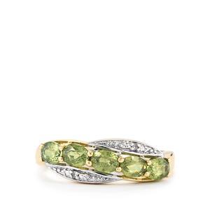 Ambanja Demantoid Garnet & Diamond 10K Gold Ring ATGW 1.29cts