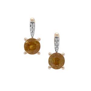 Ambilobe Sphene & Diamond 9K Gold Earrings ATGW 1.33cts