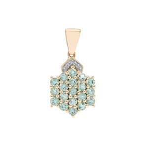 Aquaiba™ Beryl Pendant with White Diamond in 9K Gold 1.11cts
