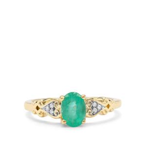 Colombian Emerald & Diamond 9K Gold Ring ATGW 0.82ct