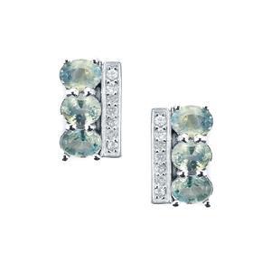 Tunduru Colour Change Sapphire & White Topaz Sterling Silver Earrings ATGW 1.45cts