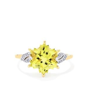 Green Gold Quartz Ring with Diamond in 10k Gold 4.16cts