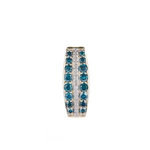 1ct White & Blue Diamond 9K Gold Pendant