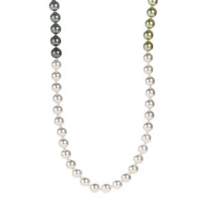 Green , Fern Green, Forest Green & White Mother of Pearl Endless Necklace (7.75mm)