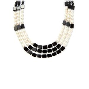 Black Agate Necklace with White Freshwater Cultured Pearl in Sterling Silver