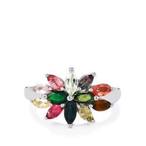 2ct Rainbow Tourmaline Sterling Silver Ring