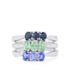 AA Tanzanite, Nuagaon Kyanite Set of 3 Rings with Blue Sapphire in Sterling Silver 1.86cts