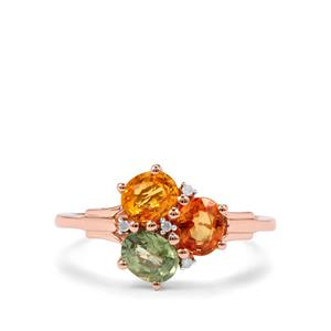 Rainbow Sapphire & Diamond 9K Rose Gold Ring ATGW 1.84cts