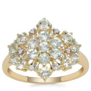 Aquaiba Beryl Ring with White Zircon in 9K Gold 1.02cts
