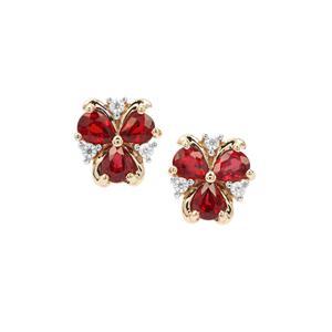 Songea Ruby Earrings with White Zircon in 9K Gold 1.32cts