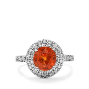 Mandarin Garnet Ring with Diamond in 18K White Gold 3.38cts