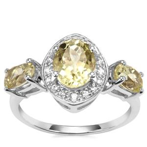 Sillimanite Ring with White Zircon in Sterling Silver 2.65cts