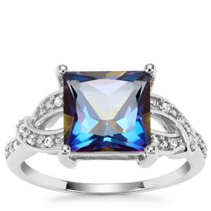 Mystic Blue Topaz Ring with White Zircon in Sterling Silver 4.46cts