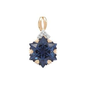 Wobito Snowflake Cut Blue Passion Topaz Pendant with Diamond in 9K Gold 5.45cts