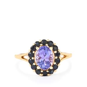 AA Tanzanite Ring with Ceylon Sapphire in 10K Gold 2cts