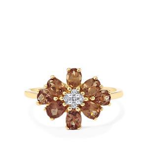 Bekily Colour Change Garnet & Diamond 9K Gold Ring ATGW 1.69cts