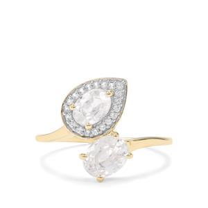 Singida Tanzanian Zircon & Ceylon Sapphire 9K Gold Ring ATGW 2.20cts