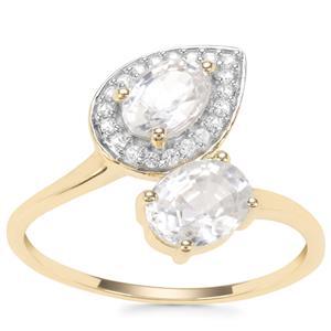 Singida Tanzanian Zircon Ring with Ceylon Sapphire in 9K Gold 2.20cts