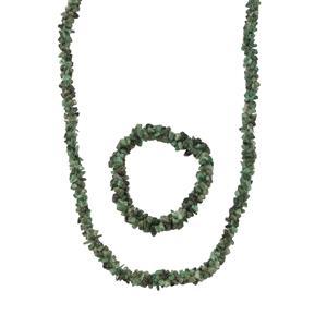 Carnaiba Brazilian Emerald Set of Necklace and Stretchable Bracelet 330cts