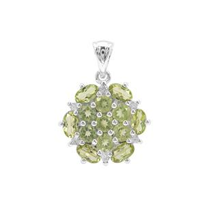 Changbai Peridot Pendant with White Zircon in Sterling Silver 2.96cts