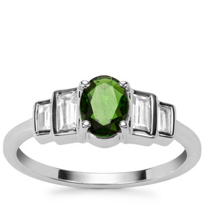 Chrome Diopside Ring with White Zircon in Sterling Silver 1.28cts