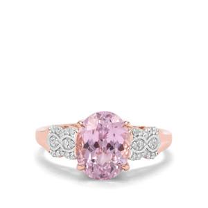 Natural Nuristan Kunzite & Diamond 18K Rose Gold Tomas Rae Ring MTGW 3.59cts