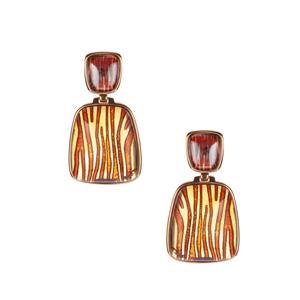 Baltic Cognac Amber Earrings in Gold Tone Sterling Silver