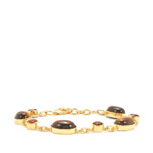 Tiger's Eye Bracelet with Madeira Citrine in Gold Vermeil 29.49cts