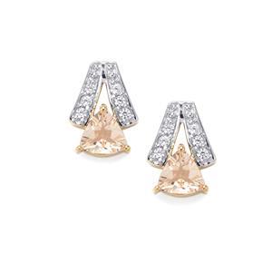 Zambezia Morganite Earrings with White Zircon in 9K Gold 0.83ct