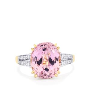 Mawi Kunzite Ring with Diamond in 18K Gold 6.97cts