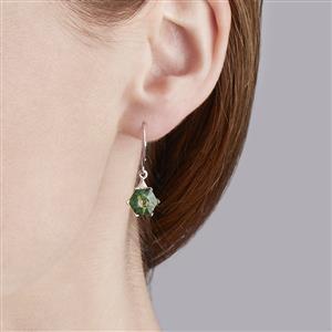 Lehrer QuasarCut Forest Green Quartz & Diamond 10K White Gold Earrings ATGW 3.31cts