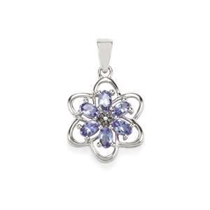 AA Tanzanite & Blue Diamond Sterling Silver Pendant ATGW 1.23cts