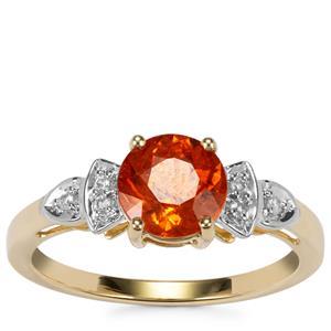 Mandarin Garnet Ring with White Zircon in 10K Gold 2.09cts
